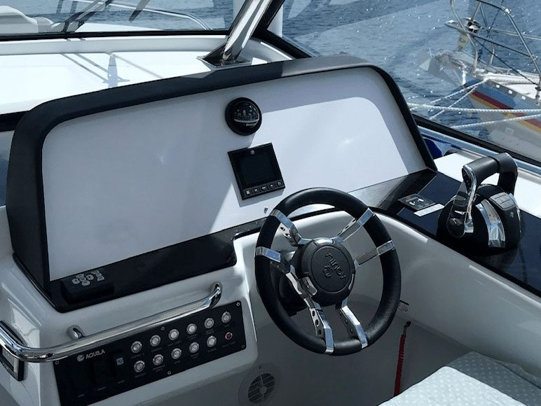 installion of two Raymarine AXIOM 16 XL MFDs and a multitude of other electronics including the Quantum 2 radar, augmented reality, wireless VHF and FLIR thermal cameras.